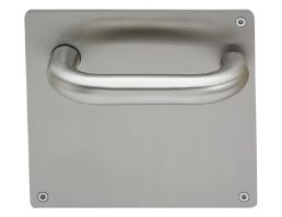 4702BP.B.22.140.SS Return to Door Round Bar Lever Handle on Blank Plate (Set) | Image 1