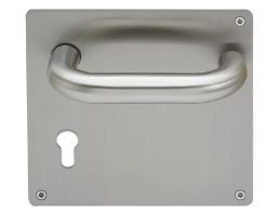 4702BP.EC.22.140.SS Return to Door Round Bar Lever Handle on Euro Cylinder Plate (Set) | Image 1